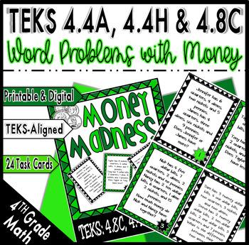 Money Madness: Adding/Subtracting Decimals:TEKS:4.8C, 4.4A, 4.4H & CCSS:4.MD.A.2