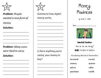 Money Madness Trifold - Wonders 2nd Grade Unit 6 Week 4