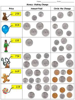 Money: Making Change - Quarters, Dimes, Nickels, and Pennies Practice Sheets