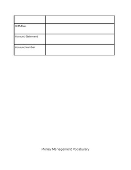 Money Management Vocabulary Search