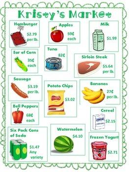 Money Market Math Worksheets