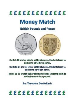 Money Match: British Pounds: 36 Task Cards