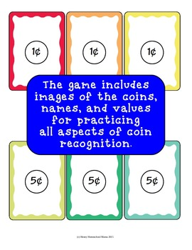 Money Match Coin Recognition Card Game