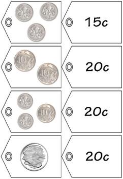 Money Match Price Tags to 50c - Australian Money