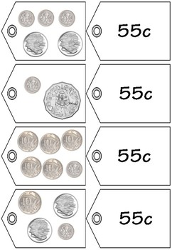 Money Match Price Tags to 55c to $1 - Australian Money