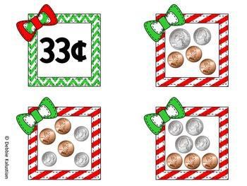 Money Match Sorting Cards - Christmas Theme