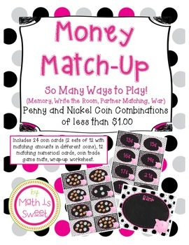 Money Match Up!  Games and Activities for Penny Nickel Combinations