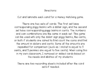 Money Matching Game & Response Sheets