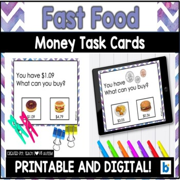 Money Matching Task Cards: Fast Food Restaurant Edition