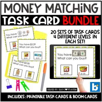 Money Matching Task Cards: GROWING BUNDLE