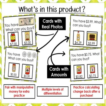 Money Matching Task Cards: Grocery Store Edition
