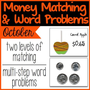 Money Matching & Word Problems {October & Halloween}