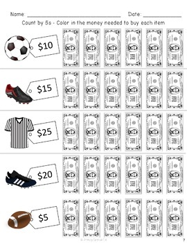 Distance Learning: Money Math $5, $10, $20 Color-In Worksheets for Special Ed