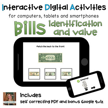 Money Math Bills ID and Value ⋅ Digital PDF ⋅ Interactive Activities
