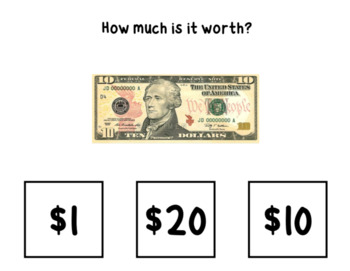 Money Math Bills ID and Value ⋅ Interactive PDF and Google Quiz