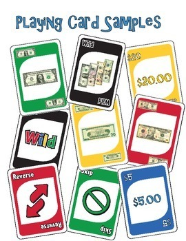 Money Math (Bills) Identification Card Game - Like UNO (special education)