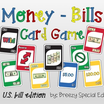 Money Math (Bills) Identification Card Game for special education