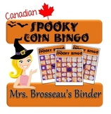 Money Math - CANADIAN Halloween Adding Coins Bingo Cards -