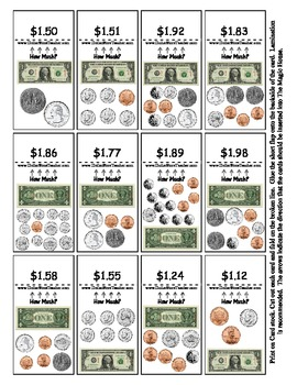 Money Math Center Smart Chute Style Cards - Dollar and Coi