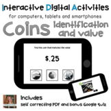 Money Math Coins ID and Value ⋅ Digital PDF, Boom Cards an