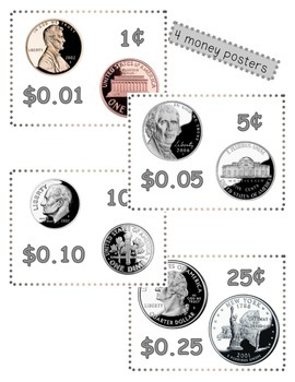 Money Math (Coins) Identification and Value Worksheets