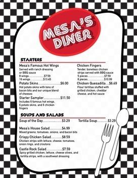 Money Math Diner Menu and Activity Sheets