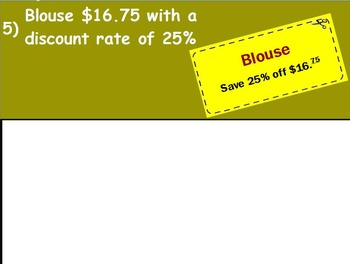 Using Percents - Finding Discounts Mathematics (worksheet included) (POWERPOINT)