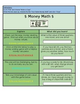 Money Math Hyperdoc
