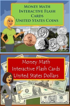 Money Math Interactive Flash Cards  United States Coins/ D