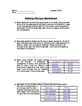 Buying Food - Making Change Word Problems; Real World Math