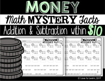 Money Math Mystery Facts - Addition & Subtraction within Ten Dollars