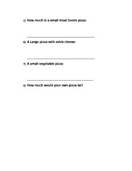 Buying Food - Pizza Shop Menu; Real World Math