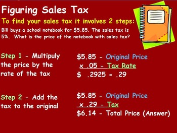 Using Percents - Sales Tax Mathematics (worksheet included) (POWERPOINT))