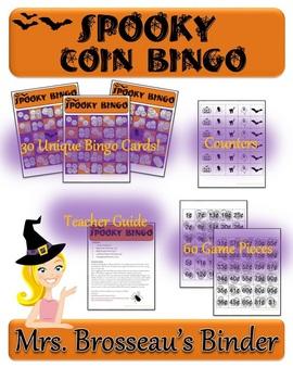 Money Math - Spooky Halloween Adding Coins Bingo Cards - 30 Unique Cards!