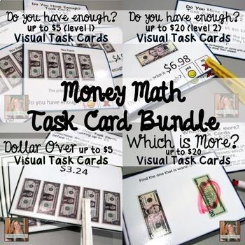 Money Math Task Card Bundle (special education)