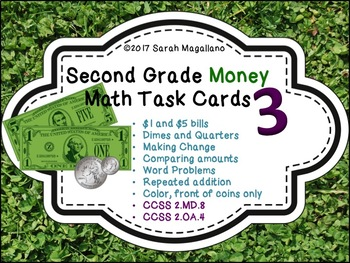 Money Math Task Cards 3 for Second Grade