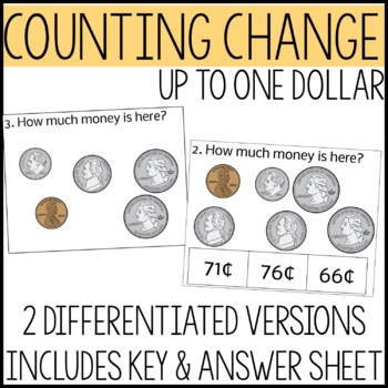 Money Math Task Cards, Adding coins up to $1.00