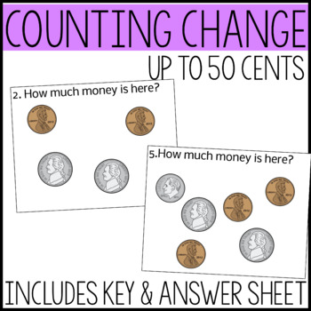 Money Math Task Cards, Adding coins up to 50 cents