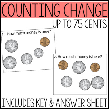 Money Math Task Cards, Adding coins up to 75 cents