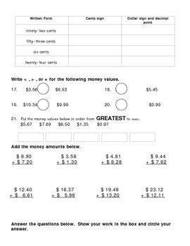 Money Math Test-3rd Grade
