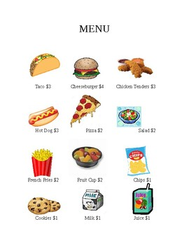 Money Math- menu and shopping with whole dollar amounts