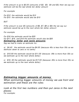 Money Maths Estimating and Rounding