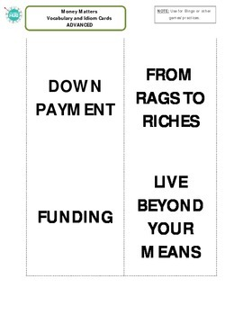 Money Matters Bingo Game _ Advanced Packet