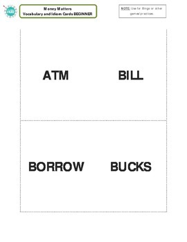 Money Matters Bingo Game _ Beginner Packet