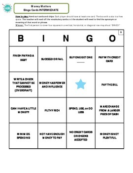 Money Matters Bingo Game _ Intermediate Packet