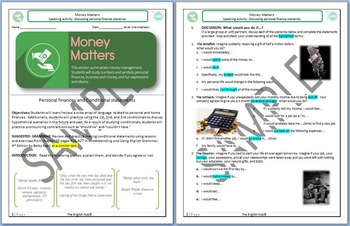Money Matters (Unit A Packet): Basic Personal Finances Unit (w/ Conditionals)