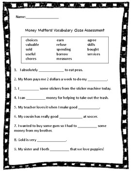Money Matters ReadyGen Vocabulary Cloze Assessment