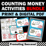Counting Money Worksheets for 2nd Grade, Money Task Cards & Word Problems BUNDLE