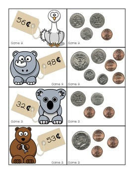 Money Memory and Matching Worksheets