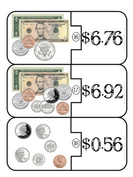 Money Mental Math with Real Coins and Dollar Bills Math Center Activity